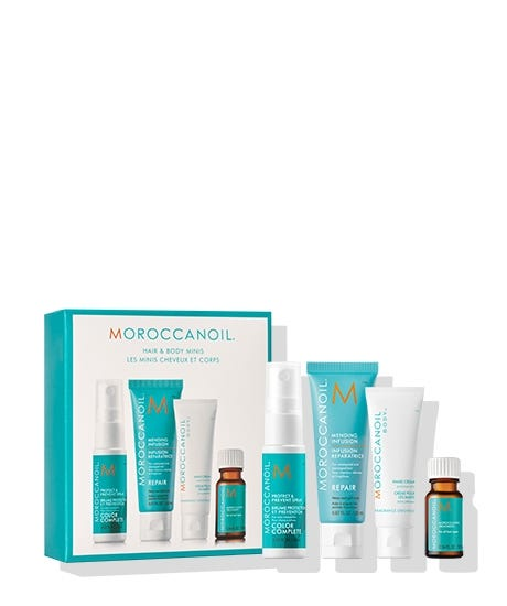 A curated assortment of must-own minis. Moroccanoil Hair & Body Minis features best-selling favorites of the brand, including: the original Moroccanoil Treatment, argan oil-infused Dry Texture Spray, heat-protecting Perfect Defense and Hand Cream Fragrance Originale from Moroccanoil Body.