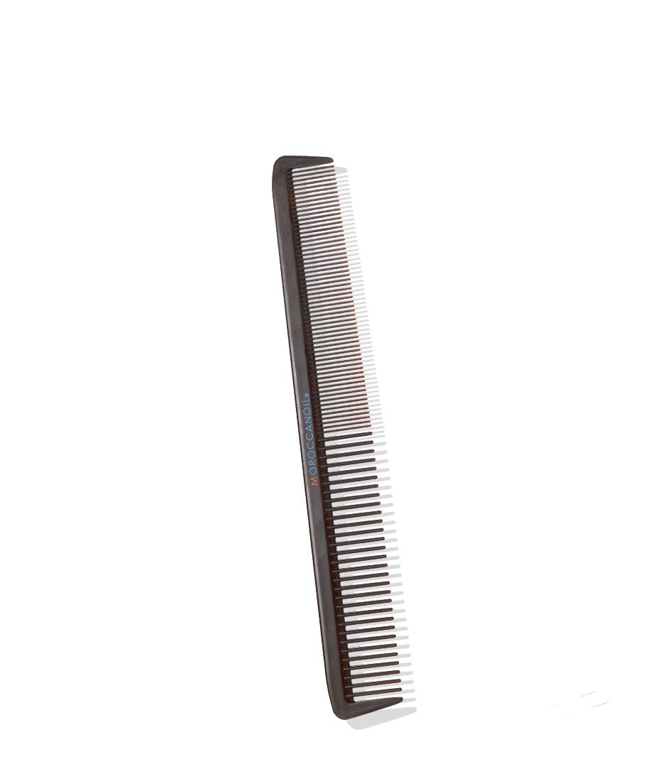 """The Moroccanoil Comb Collection is a high-quality range of extra-strong, heat-resistant combs. These four distinct combs feature rigid teeth that provide grip and control, while seamless, smooth construction prevents hair from snagging. Available in four variants. 8.5"""" Comb: Equal tension and strong grip provide control when evenly distributing longer styles."""