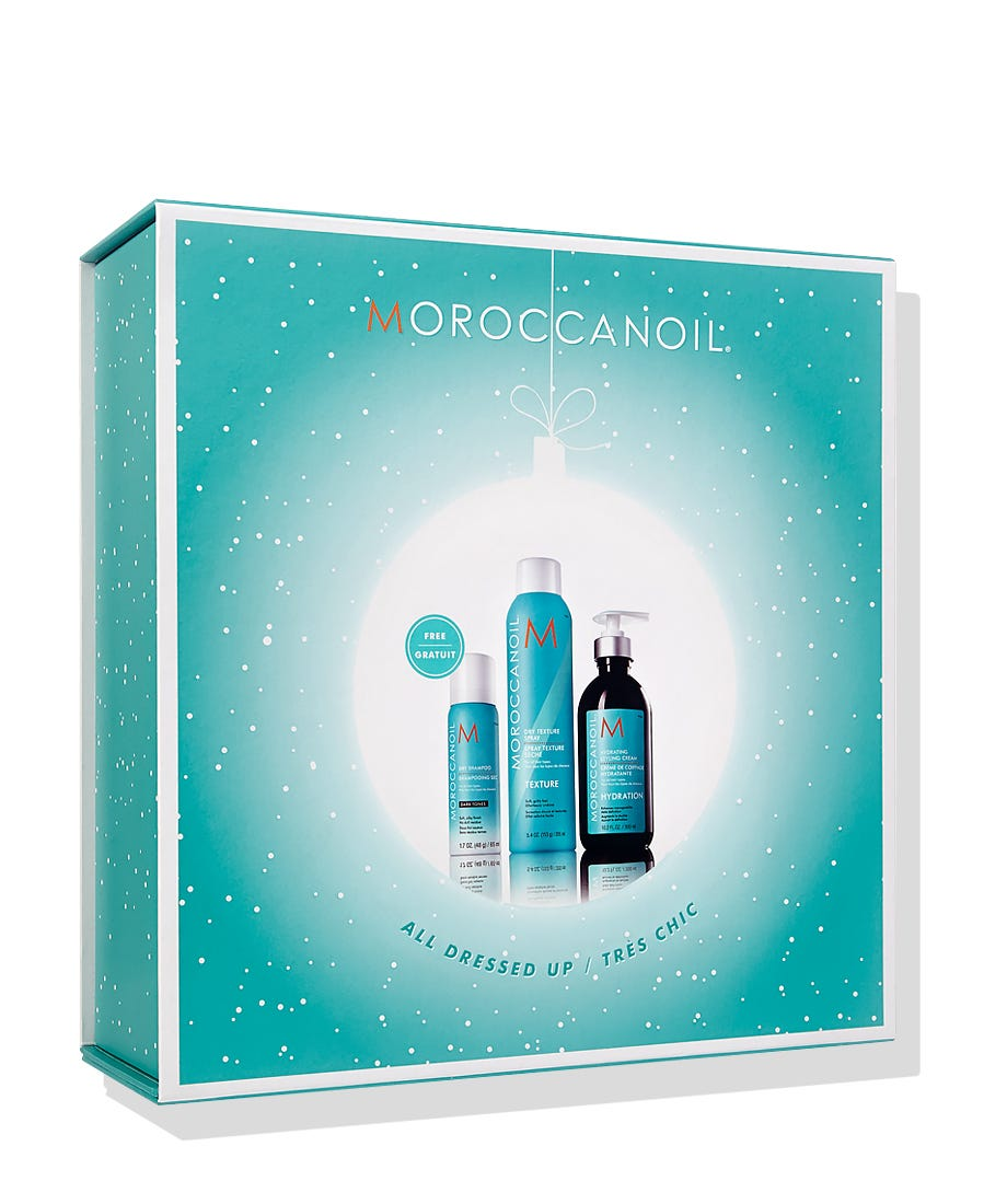 For perfect holiday gift ideas, look no further than Holiday collections from Moroccanoil with best-selling products for everyone on your list! The limited-edition Moroccanoil All Dressed Up Set features leave-in Hydrating Styling Cream to condition, hydrate and nourish and Dry Texture Spray for carefree, textured volume. Includes FREE Dry Shampoo Dark Tones!