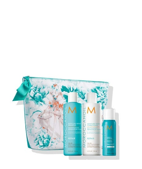 Start spring in style with highly reparative favorites in a free, custom-designed cosmetic bag by renowned fashion brand Marchesa. This limited edition set comes with the best-selling Moisture Repair Shampoo and Conditioner, plus a free Perfect Defense to protect hair from heat styling. This collaboration will benefit The Magic Bus Foundation, a non-profit that aims to lift communities in India out of poverty and into livelihood. Moisture Repair Shampoo (8.5 FL. OZ. / 250 ml) this nourishing shampoo mends broken strands and dead ends to restore elasticity, moisture and shine. Moisture Repair Conditioner (8.5 FL. OZ. / 250 ml) features a highly concentrated, reparative formula that restores hair's health with antioxidant-rich argan oil, reconstructive keratin and fatty acids. FREE Perfect Defense (2 OZ. / 75 ml) this nourishing formula re-hydrates the hair while protecting against the damaging effects of heat styling up to 450F.