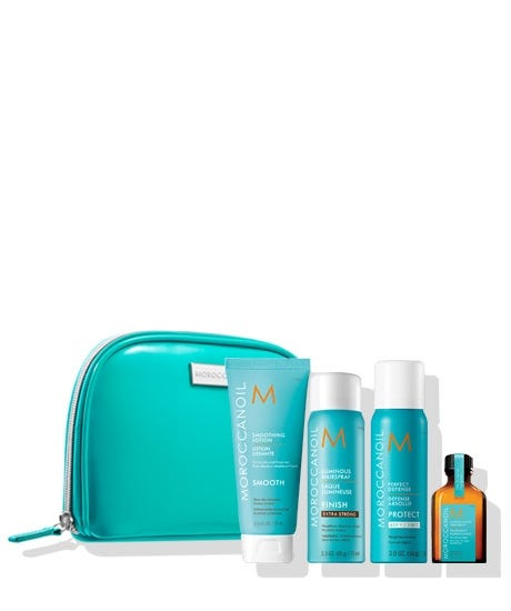 Ensure you always have what you need to achieve the style you love with the Moroccanoil Destination: Style Travel Set. This limited edition set comes in a free cosmetic bag, making it easy to transport your products wherever life takes you. It includes travel-size versions of some of our argan oil-infused styling products, including Perfect Defense to protect against heat damage, Smoothing Lotion to hydrate and tame frizz and Luminous Hairspray Extra Strong to lock in your look. Moroccanoil Treatment (0.85 FL. OZ. / 25 ml) the original foundation for hairstyling that can be used as a conditioning, styling and finishing tool. Rich in argan oil and reparative proteins. Smoothing Lotion (2.53 FL. OZ. / 75 ml) all-in-one blow-dry hair lotion infused with expertly blended technologies that leave hair smooth and manageable. Perfect Defense (2 OZ. (56 g) / 75 ml) this nourishing formula re-hydrates the hair while protecting against the damaging effects of heat styling up to 450F/230C. Lumino